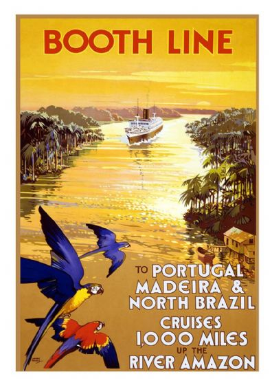 Booth Line: To Portugal, Madeira & North Brazil Cruises 1,000 Miles up the River Amazon.  Vintage Travel Print/Poster. Sizes: A4/A3/A2/A1 (002700)